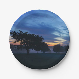 Break Of Dawn And Fog Paper Plate