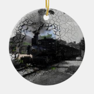 Break On Through Train Double-Sided Ceramic Round Christmas Ornament