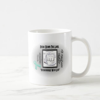 "Break the label ""incompatible with life"" trisomy classic white coffee mug"