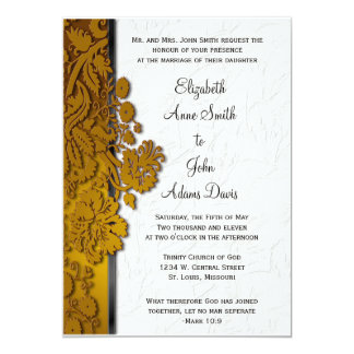 Break Through Damask Caramel Wedding Invitatio 5x7 Paper Invitation Card