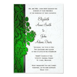 Break Through Damask Green Wedding Invitatio 5x7 Paper Invitation Card