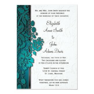 Break Through Damask Teal Wedding Invitatio 5x7 Paper Invitation Card