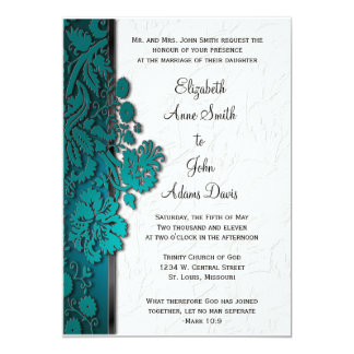 Break Through Damask Teal Wedding Invitatio Card