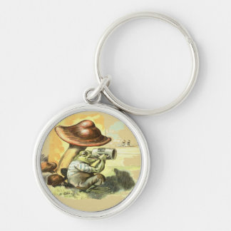 Break Time Silver-Colored Round Keychain