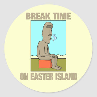 Break time on Easter Island Classic Round Sticker
