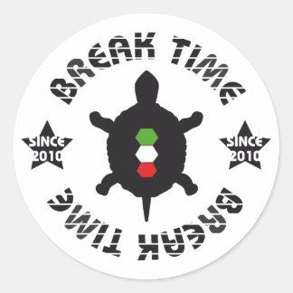Break Time Turtle Classic Round Sticker