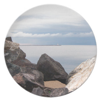 Break Wall On Lake Superior Plate