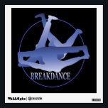 """Breakdance Windmill Blue/Black Wall Decal<br><div class=""""desc"""">A graphic design of a breakdance windmill by artist/designer Charmaine Paulson on a wall decal.</div>"""