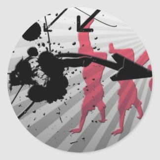 Breakdance with arrows classic round sticker