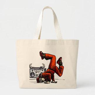 Breakdancer and Box Hip Hop Large Tote Bag
