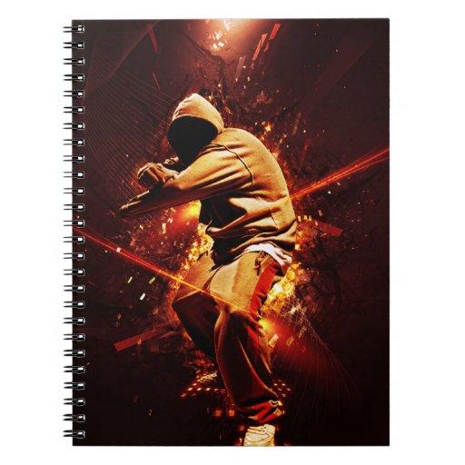 breakdancer del hip-hop en el fuego libros de apuntes con espiral