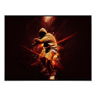 breakdancer del hip-hop en el fuego poster
