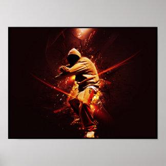 breakdancer del hip-hop en el fuego póster