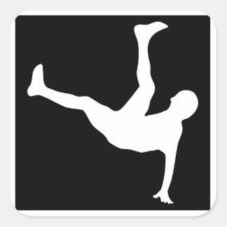 Breakdancer Calcomanía Cuadrada Personalizada