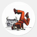 Breakdancer y caja Hip Hop Pegatina Redonda