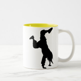 Breakdancer; yellow Two-Tone coffee mug