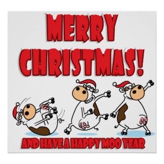 Breakdancing Christmas Cow Poster
