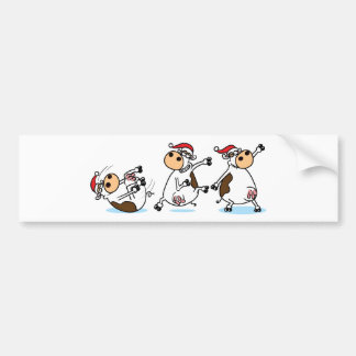 Breakdancing Cows at Christmas Bumper Sticker