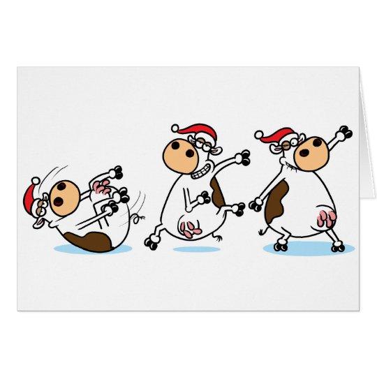 Breakdancing Cows at Christmas Card