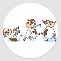 Breakdancing Cows at Christmas Classic Round Sticker