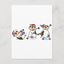 Breakdancing Cows at Christmas Holiday Postcard
