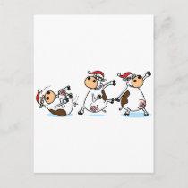 Breakdancing Cows at Christmas Holiday Postcard