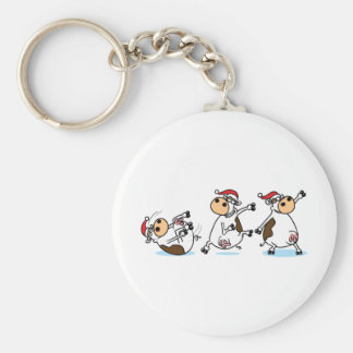 Breakdancing Cows at Christmas Keychain