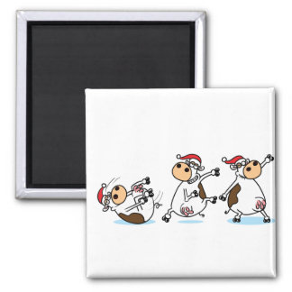 Breakdancing Cows at Christmas Magnet