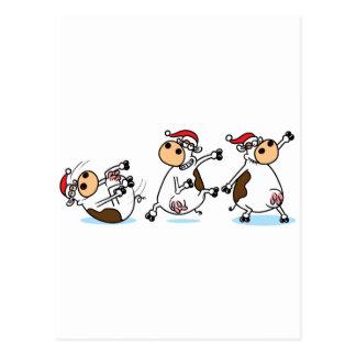 Breakdancing Cows at Christmas Postcard