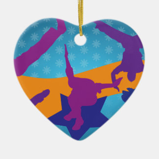 Breakdancing Silhouettes Ceramic Ornament