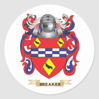 Breaker Coat of Arms Family Crest Round Stickers