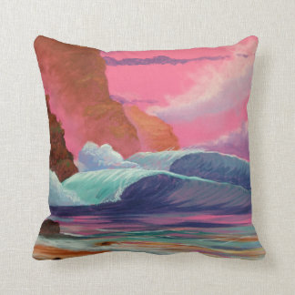 Breakers at Sunset Throw Pillow