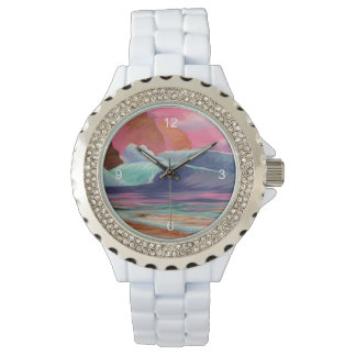 Breakers at Sunset Wrist Watches
