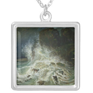 Breakers off Granville Point in the Channel Silver Plated Necklace
