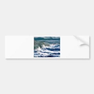 Breakers on the Rocks Seascape Ocean Waves Art Bumper Sticker
