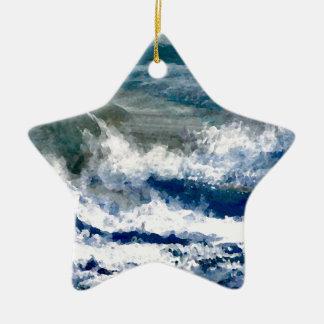 Breakers on the Rocks Seascape Ocean Waves Art Ceramic Ornament
