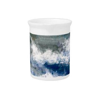 Breakers on the Rocks Seascape Ocean Waves Art Drink Pitchers