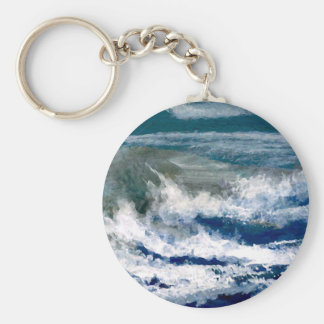 Breakers on the Rocks Seascape Ocean Waves Art Keychain