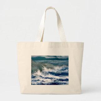 Breakers on the Rocks Seascape Ocean Waves Art Large Tote Bag