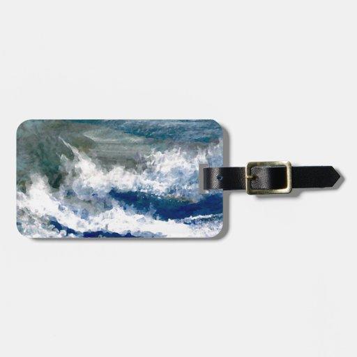 Breakers on the Rocks Seascape Ocean Waves Art Travel Bag Tags
