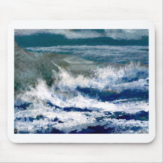 Breakers on the Rocks Seascape Ocean Waves Art Mouse Pads