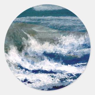 Breakers on the Rocks Seascape Ocean Waves Art Sticker