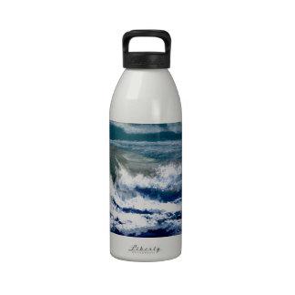 Breakers on the Rocks Seascape Ocean Waves Art Reusable Water Bottle