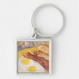 Breakfast 2 Silver-Colored square keychain
