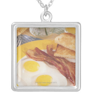 Breakfast 2 silver plated necklace