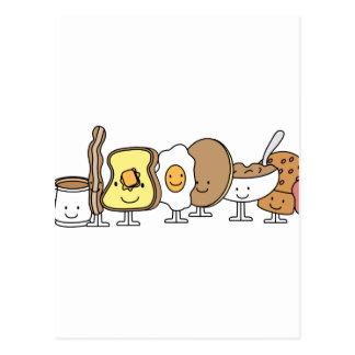 Breakfast Cartoon Characters Postcard