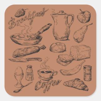 Breakfast Coffee Square Sticker