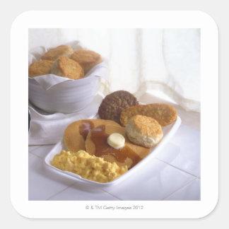 Breakfast combo square sticker