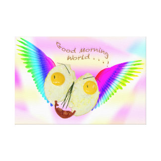 BREAKFAST EGG FACE FLYING WITH RAINBOW COLOURS CANVAS PRINT