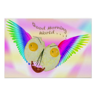 BREAKFAST EGG FACE FLYING WITH RAINBOW COLOURS POSTER